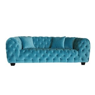 Casa Milano Collection Blue Cotton Velvet Button Tufted Loveseat