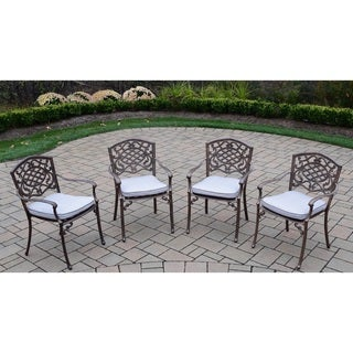 Explorer Cast Aluminum Welded Stackable Chairs with Cushions (Set of 4)
