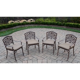 Dakota Cast Aluminum Stackable Chairs with Tan Cushions (Set of 4)