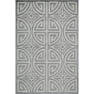 "Hand-Tufted Dynasty Grey Polyester Rug (5' x 7'6"")"