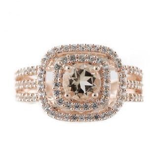 Rose Gold-Plated Morganite and Created White Sapphire Engagement Ring
