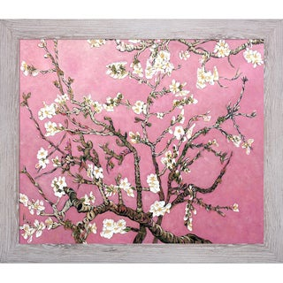 La Pastiche Original 'Branches of an Almond Tree in Blossom, Pearl Pink' Hand Painted Framed Canvas Art