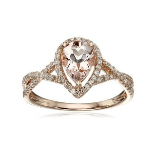 Pinctore 14k Rose Gold Pear Shaped Morganite and Diamond Solitaire Ring