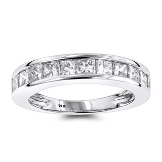 Luxurman Thin 1 Row Princess Cut Diamond Wedding Band 1.65ct 10K Gold
