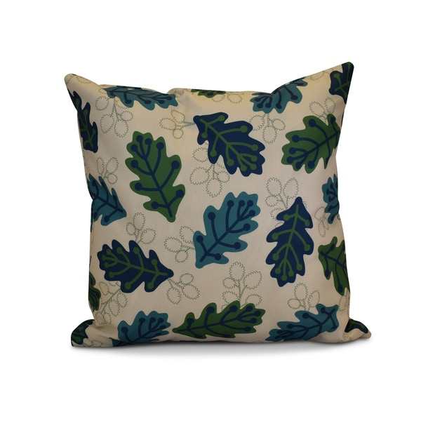 18 x 18-inch, Retro Leaves, Floral Print Pillow