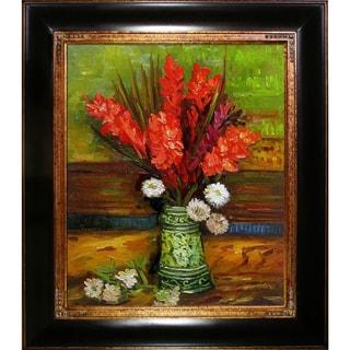 Vincent van Gogh 'Vase with Red Gladioli' Hand Painted Framed Canvas Art