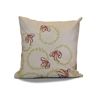18 x 18-inch, Simple Wreath, Geometric Holiday Print Outdoor Pillow