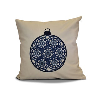 18 x 18-inch, Snowflake Bulb, Geometric Holiday Print Pillow