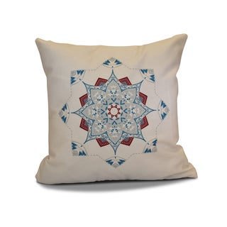 18 x 18-inch, Snowflake Star, Geometric Holiday Print Outdoor Pillow