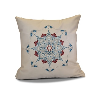 18 x 18-inch, Snowflake Star, Geometric Holiday Print Pillow