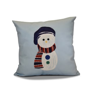 18 x 18-inch, Sock Snowman, Geometric Holiday Print Outdoor Pillow