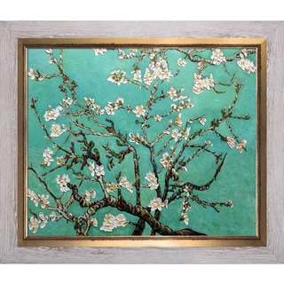 La Pastiche Original 'Branches of an Almond Tree in Blossom, Jade' Hand Painted Framed Canvas Art