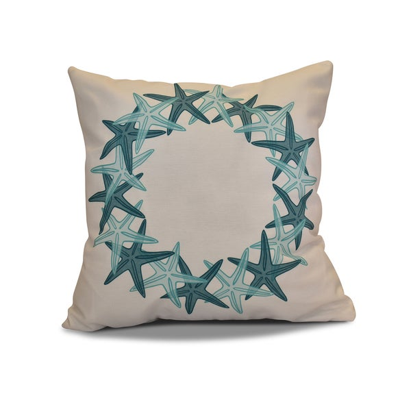 18 x 18-inch, Starfish Wreath, Holiday Geometric Print Pillow