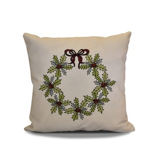 18 x 18-inch, Traditional Holly Wreath, Floral Holiday Print Pillow