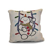 18 x 18-inch, Winter Whimsy, Geometric Holiday Print Outdoor Pillow