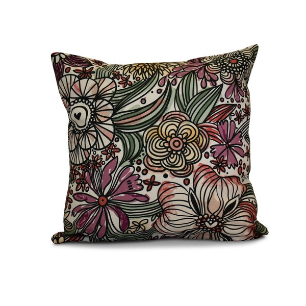 18 x 18-inch, Zentangle Floral, Floral Print Pillow