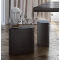 Everly Concrete Grey MDF Oval Stool