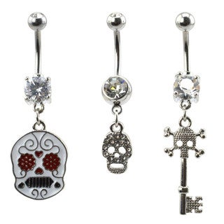 Supreme Jewelry Women's Surgical Steel Skull Belly Ring (Pack of 3)