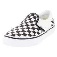 Vans Kid's Classic Slip-On (Checkerboard) White/Black Skate Shoe