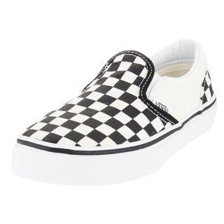 Vans Kid's Classic Slip-On (Checkerboard) White/Black Skate Shoe