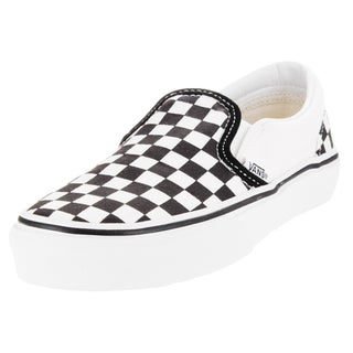 Vans Kid's Classic Slip-On (Checkerboard) Black/True White Skate Shoe