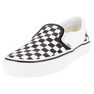 Vans Kid's Classic Slip-On (Checkerboard) Black/True White Skate Shoe