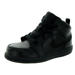 Nike Jordan Toddlers Jordan 1 Black Leather Basketball Shoes