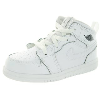 Nike Toddler's Jordan 1 Mid Bt White/Cool Grey/White Basketball Shoes