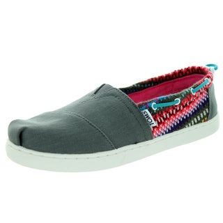 Toms Kid's Bimini Grey Stripe Knit Casual Shoe