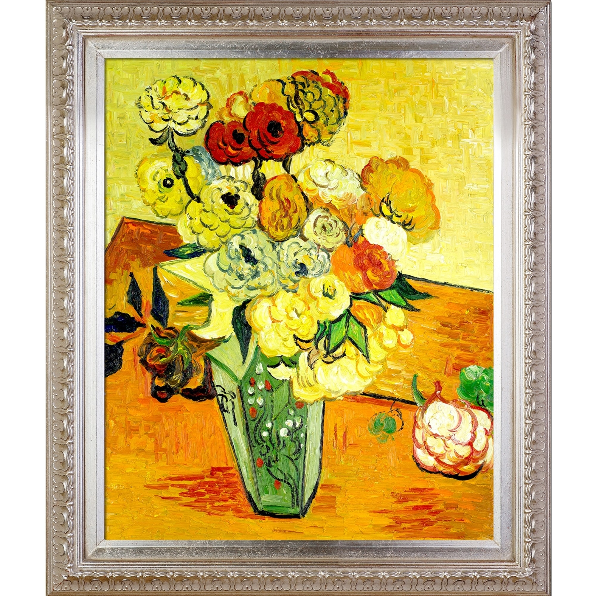 Vincent van Gogh \u0027Japanese Vase with Roses and Anemones, 1890\u0027 Hand Painted  Framed Canvas Art