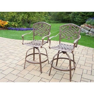 Explorer Antique Bronze Aluminum Swivel Bar Stools (Set of 2)