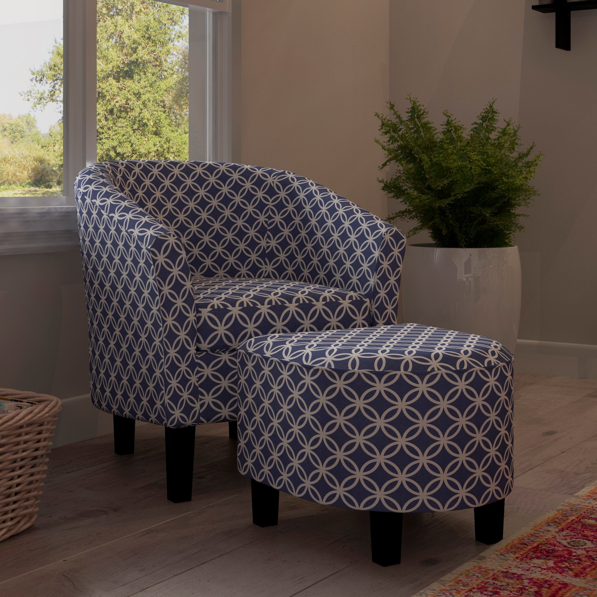 Bay View Brust Dark Blue Club Chair And Ottoman Free