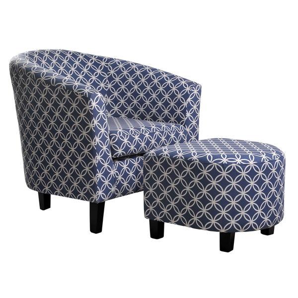 Nathanial Home Dark Blue Club Chair And Ottoman Free