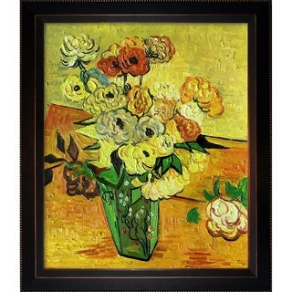 Vincent van Gogh 'Japanese Vase with Roses and Anemones, 1890' Hand Painted Framed Canvas Art