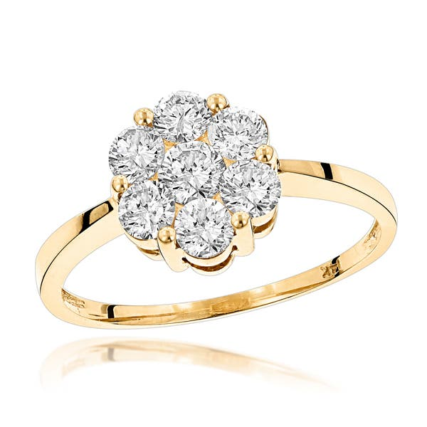 b3a3ac1e7c5 Shop Luxurman 14K Gold 7 Stone Diamond Cluster Ring 1.10ct - On Sale ...
