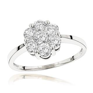Luxurman 14K Gold 7 Stone Diamond Cluster Ring 1.10ct|https://ak1.ostkcdn.com/images/products/12321401/P19154095.jpg?impolicy=medium