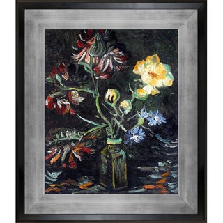 Vincent van Gogh 'Vase with Myosotis and Peonies, 1886' Hand Painted Framed Canvas Art