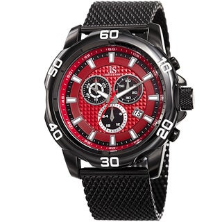 Joshua & Sons Men's Swiss Quartz Chronograph Black Stainless Steel Bracelet Watch