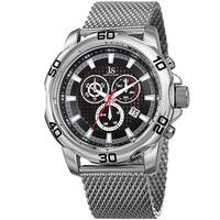 Joshua & Sons Men's Swiss Quartz Chronograph Silver-Tone/Black Stainless Steel Bracelet Watch