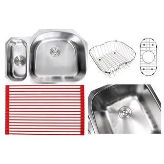 Ariel Sharp Satin 32-inch Premium 16-gauge Stainless Steel Undermount 20/80 Offset D-bowl Kitchen Sink With Full Accessories Kit