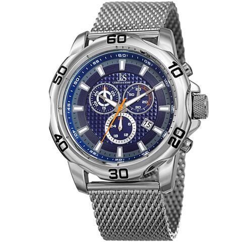 Joshua & Sons Men's Swiss Quartz Chronograph Silver-Tone/Blue Stainless Steel Bracelet Watch