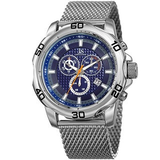 Joshua & Sons Men's Swiss Quartz Chronograph Silver-Tone/Blue Stainless Steel Bracelet Watch