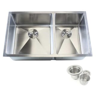 Stainless Steel 32-inch Double Bowl 60/40 Undermount 15-millimeter Radius Kitchen Sink 16-gauge Combo