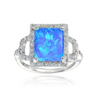 Glitzy Rocks Sterling Silver Created Blue Opal and Cubic Zirconia Square Ring