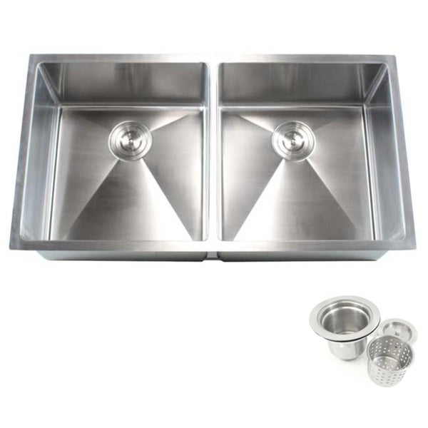 Silver Stainless Steel Double Bowl Undermount Kitchen Sink - Free ...