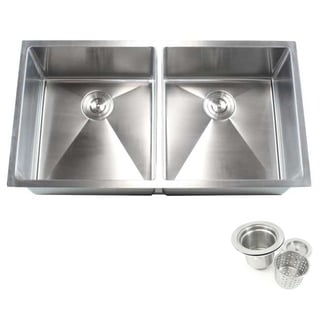 Silver Stainless Steel Double Bowl Undermount Kitchen Sink