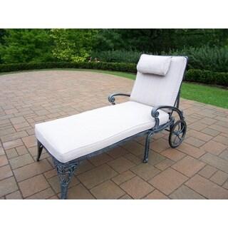 Dakota Cast Aluminum Verdi Grey Chaise Lounge with Cushion