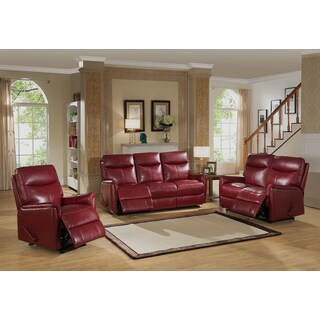 Napa Red Top Grain Leather Lay-Flat Reclining Sofa, Loveseat, and Chair Set