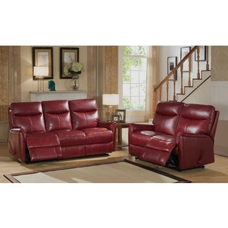 Napa Red Top Grain Leather Lay-Flat Reclining Sofa and Loveseat Set