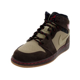 Nike Jordan Kid's Jordan 1 Mid Prem Bg Baroque Brown/Gym Red/Khk/Black Basketball Shoe